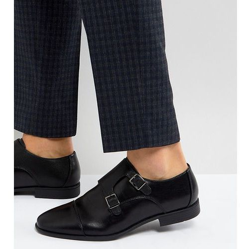 ASOS Wide Fit Monk Shoes In Black Faux Leather With Emboss Panel - Black