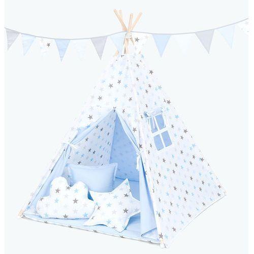 Mamo-tato namiot tipi z matą i poduszkami gwiazdki szare i niebieskie duże / jasny błękit