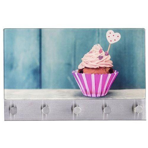 Wenko Szklana tablica magnetyczna na notatki + 5 wieszaków, cupcake,