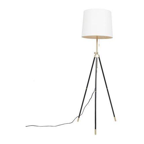 Lampa podlogowa Scopo mosiadz czarny z kremowym kloszem