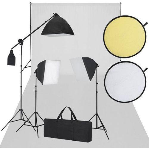 vidaXL Zestaw studio, białe tło, 3 lampy i reflektor (8718475821106)