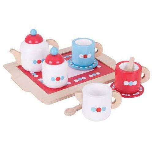 Bigjigs toys Drewniany serwis do herbaty do zabawy dla dzieci - zestaw 10 elementów