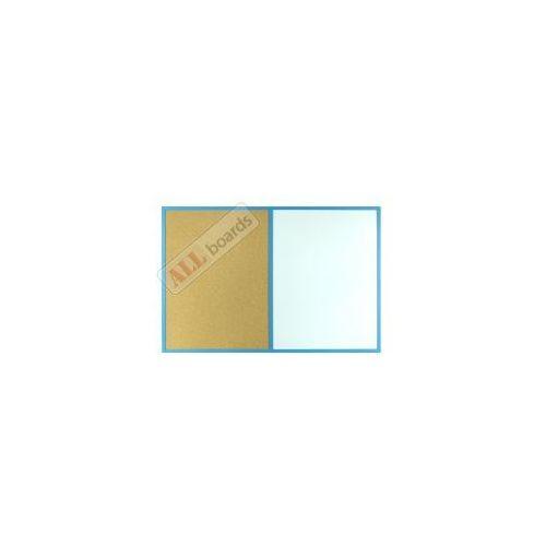Tablica suchościeralna magnetyczna i korkowa KOMBI 90x60 cm rama drewniana NIEBIESKA