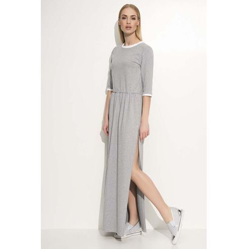 Szara Sukienka Maxi z Lamówkami, w 3 rozmiarach