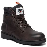 Kozaki TOMMY JEANS - Casual Leather Boot EM0EM00314 Coffee Bean 212, kolor brązowy