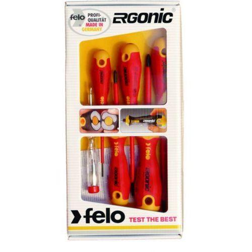 wkrętaki izolowane ergonic 1000v zestaw 5 sztuk + próbnik 41396398 marki Felo