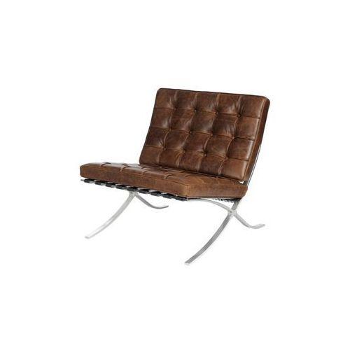 Fotel BA1 brązowy ciemny vintage, kolor brązowy