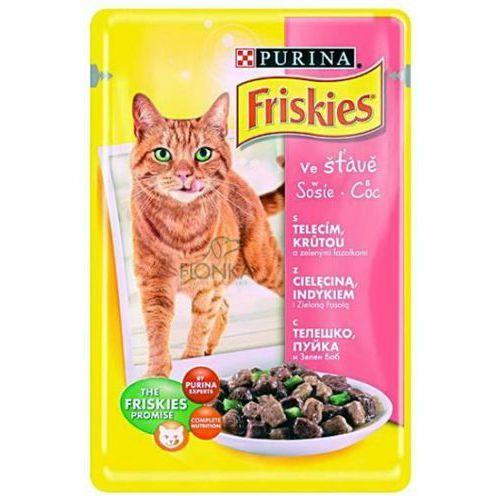 Friskies w sosie z cielęciną, indykiem i zieloną fasolą karma dla kotów saszetka 100 g