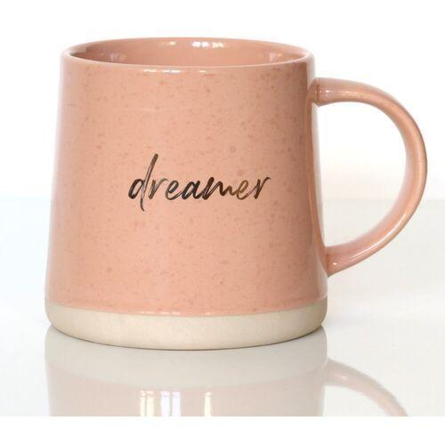 Kubek DREMER różowy – wyjątkowy prezent podarunek ze złotymi akcentami na kawę herbatę dla siostry mamy koleżanki