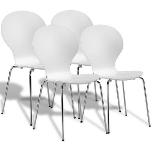 vidaXL 4 Krzesła wieżowe Białe motylki