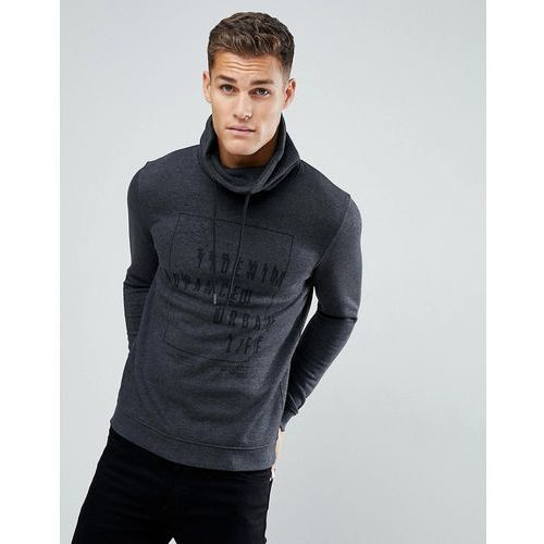 sweat with funnel neck in charcoal with black print - grey marki Tom tailor