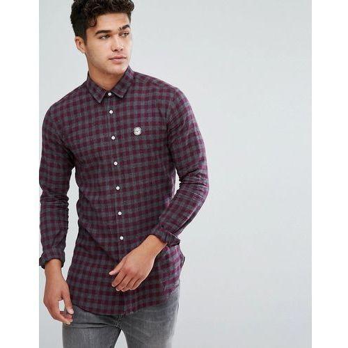 Le breve flannel longline check shirt - navy