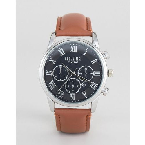 Reclaimed Vintage Inspired Chronograph Brown Leather Strap Watch - Brown