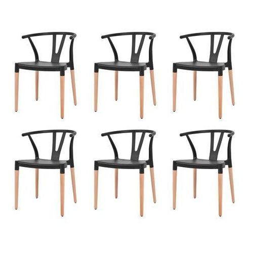 vidaXL Komplet 6 krzeseł, czarne, plastikowe siedziska i stalowe nogi