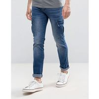 Loyalty and Faith Tapered Cargo Pants Trousers in Mid Wash Blue - Blue