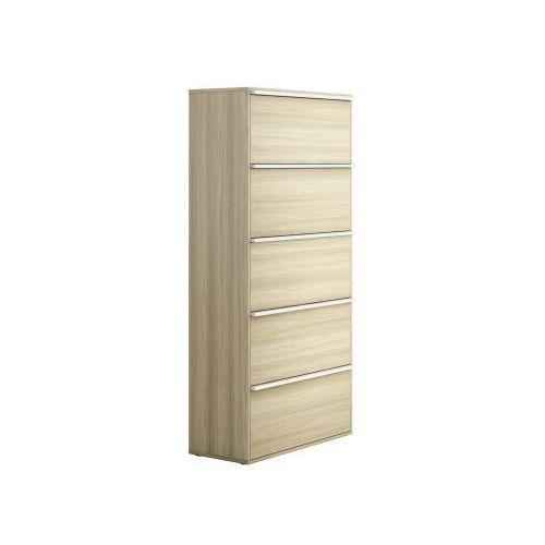 Szafa biurowa wysoka z drzwiami boards wood, dąb naturalny marki Plan