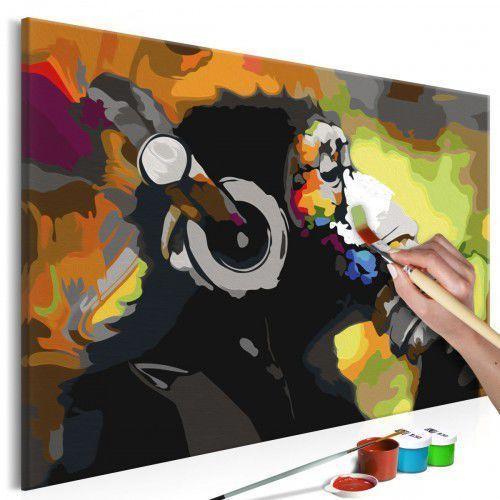 Artgeist Obraz do samodzielnego malowania - kolorowa małpa w słuchawkach