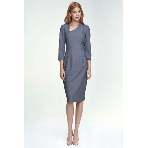 Szara Sukienka z Asymetrycznym Dekoltem, w 4 rozmiarach