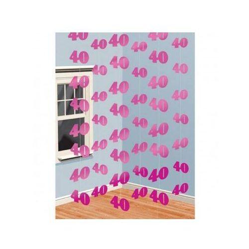 Amscan Dekoracja z wiszących łańcuchów na 40 urodziny - różowa - 213 cm - 6 szt.