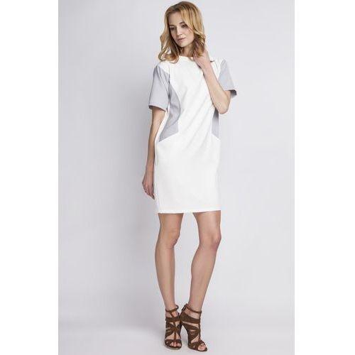 Prosta Biała Sukienka z Krótkim Rękawem, LSUK124wh