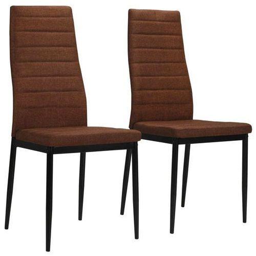Krzesła jadalniane obite tkaniną, 2 szt., brązowe