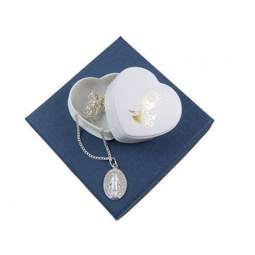 Zestaw na komunię: medalik duży + łańcuszek 0,5 - 45cm - srebro 925, ZK-040