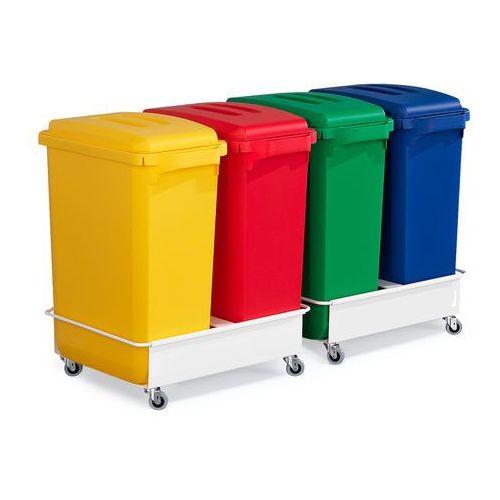 Zestaw do segregacji śmieci, 4 kosze z pokrywami, 2 wózki
