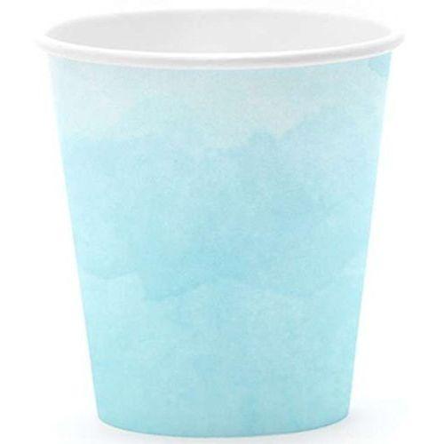 """Kubeczki papierowe """"Summer Time"""", turkusowe, PartyDeco, 180 ml, 6 szt"""