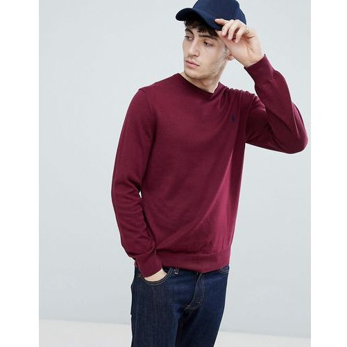 Polo Ralph Lauren slim fit pima cotton knit jumper player logo in burgundy - Red, 1 rozmiar