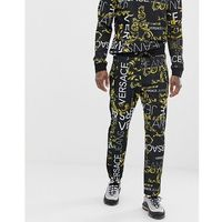 Versace Jeans skinny joggers in black with all over logo print - Black, w 5 rozmiarach