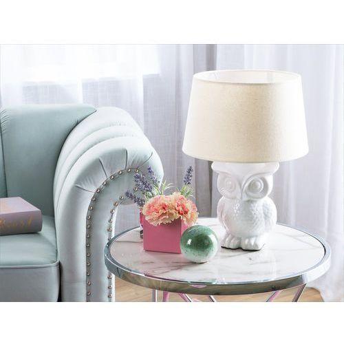 Lampa stołowa biała 42 cm owl marki Beliani