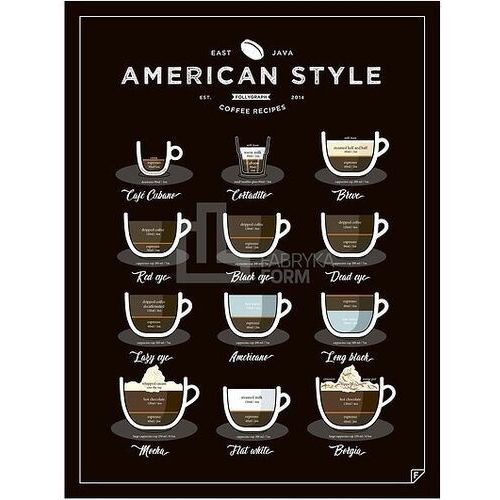 Plakat American Style Coffee 50 x 70 cm, ascen5070