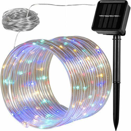 Voltronic ® Wąż świetlny solarny 100 led lampki ogrodowe świąteczne multikolor - mix kolorów (4048821761386)