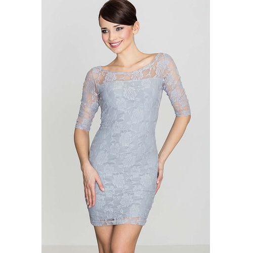 Szara elegancka koronkowa sukienka z rękawem 3/4 marki Katrus