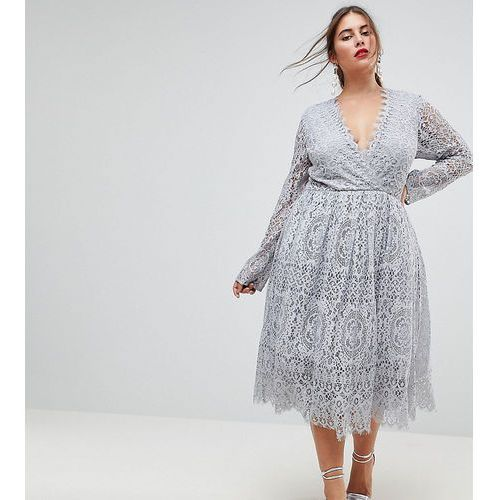 ASOS CURVE Long Sleeve Lace Midi Prom Dress - Grey, kolor szary