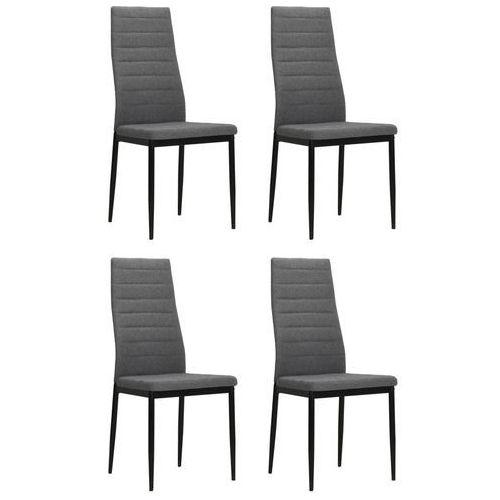 Krzesła do jadalni tapicerowane tkaniną, jasnoszare, 4 szt.