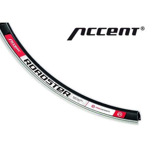 600-10-119_acc obręcz  roadster 700c, 32 otwory, czarna z białymi nalepkami marki Accent
