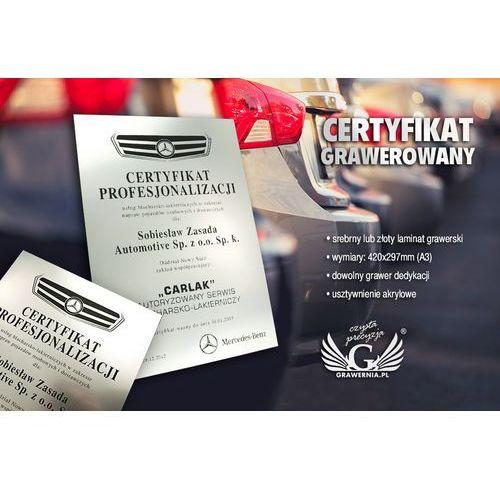 Certyfikat metalizowany na podkładzie akrylowym - format a3 - grawerowany laserem marki Grawernia.pl - grawerowanie i wycinanie laserem