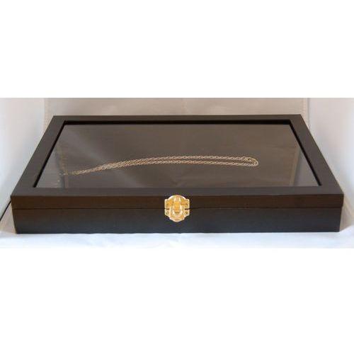 Zamykana, czarna, duża tacka do prezentacji biżuterii np. łańcuszków (pionowa), 01094