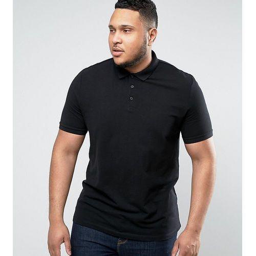 Asos  plus pique polo shirt in black - black