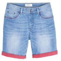 Bermudy dżinsowe ze stretchem i kontrastowym wywinięciem slim fit jasnoniebieski, Bonprix
