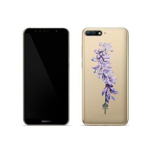 Huawei Y6 (2018) - etui na telefon Crystal Design - Fioletowy kwiat, ETHW710CRDGDG002000