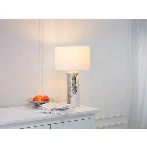 Nowoczesna lampka nocna - lampa stojąca biało-srebrna - AIKEN