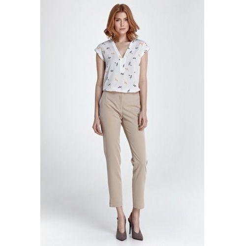 Eleganckie spodnie z rozcięciem sd28 beige marki Nife
