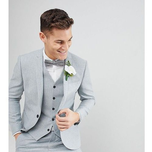 Noak slim stretch wedding suit jacket in donegal - blue