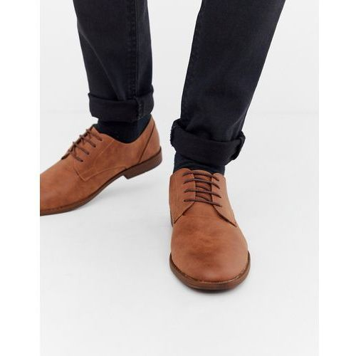 faux leather derby shoes in tan - tan marki New look