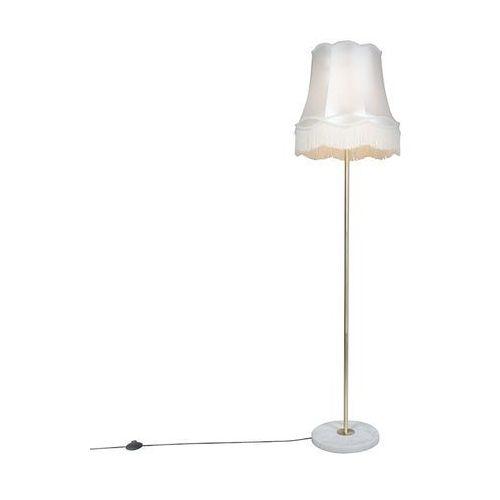 Qazqa Lampa podłogowa kaso mosiądz z kloszem granny 45 cm kremowy