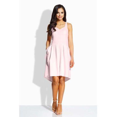 Różowa kobieca sukienka na szerokich ramiączkach, Lemoniade, 38-40