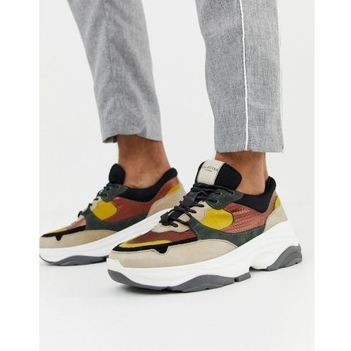 chunky sole multi colour premium leather trainer - grey marki Selected homme