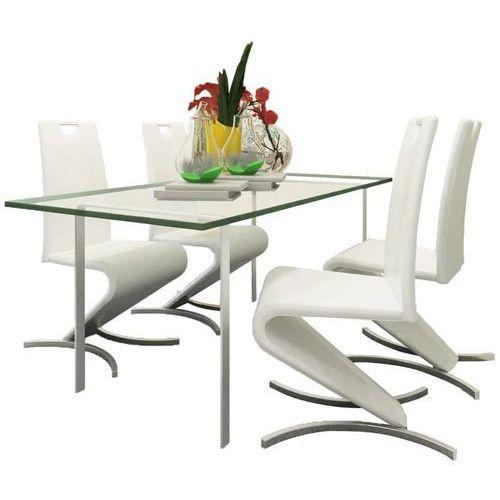 Vidaxl Krzesła wspornikowe do jadalni, 4 szt., sztuczna skóra, białe